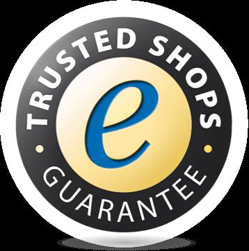 Trusted Shops Gütesiegel mit Käuferschutz für Kunden und Produktbewertungen.